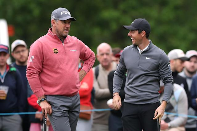 Golf - European Tour - BMW PGA Championship - Wentworth Club, Virginia Water, Britain - May 25, 2018 Northern Ireland's Rory McIlroy and England's Lee Westwood during the second round Action Images via Reuters/Peter Cziborra