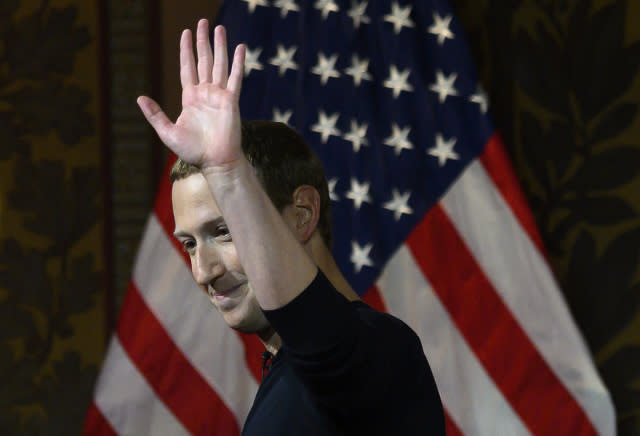 Facebook founder Mark Zuckerberg waves after speaking at Georgetown University in a 'conversation on free expression in Washington, DC on October 17, 2019. (Photo by ANDREW CABALLERO-REYNOLDS / AFP) (Photo by ANDREW CABALLERO-REYNOLDS/AFP via Getty Images)