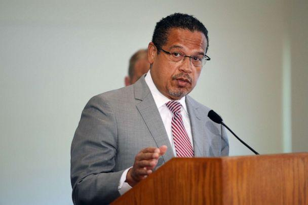 PHOTO: Minnesota Attorney General Keith Ellison announces charges of aiding and abetting second-degree murder and aiding and abetting second-degree manslaughter had been filed against former Minneapolis officers on June 3, 2020 in Minneapolis, Minnesota. (Scott Olson/Getty Images)