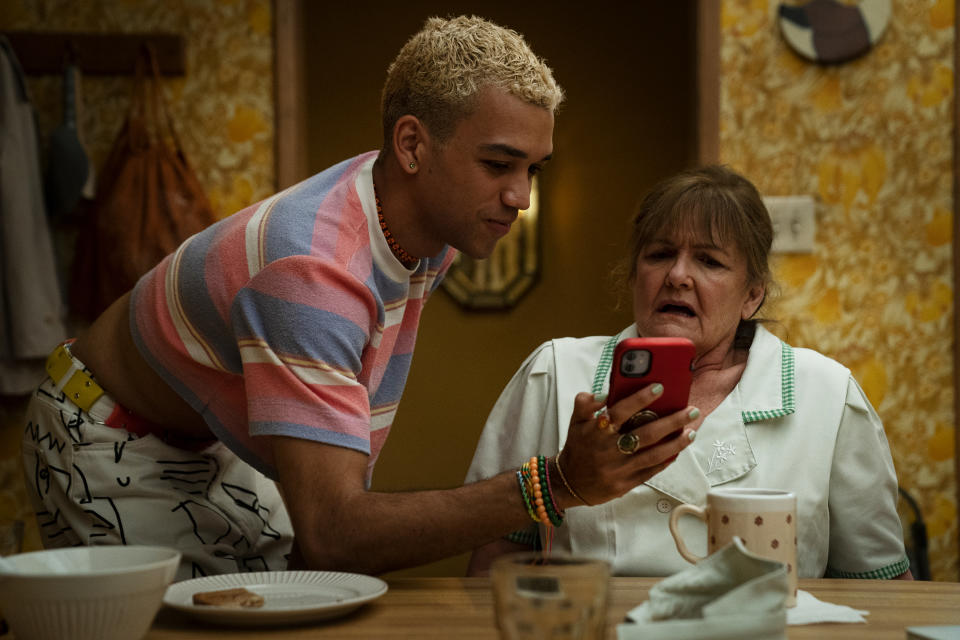 To be fair, nan, you did ask what a 'dick pic' was and Chester (Justice Smith) was nice enough to show you! Picture: Binge
