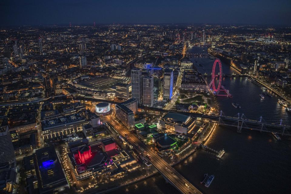 Night aerial view of SouthBank and the River Thames. (Photo: Jason Hawkes/Caters News)