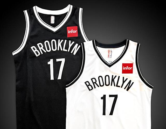 The Brooklyn Nets' jerseys, featuring the new Infor patch they will wear next year. (Image via the Nets)