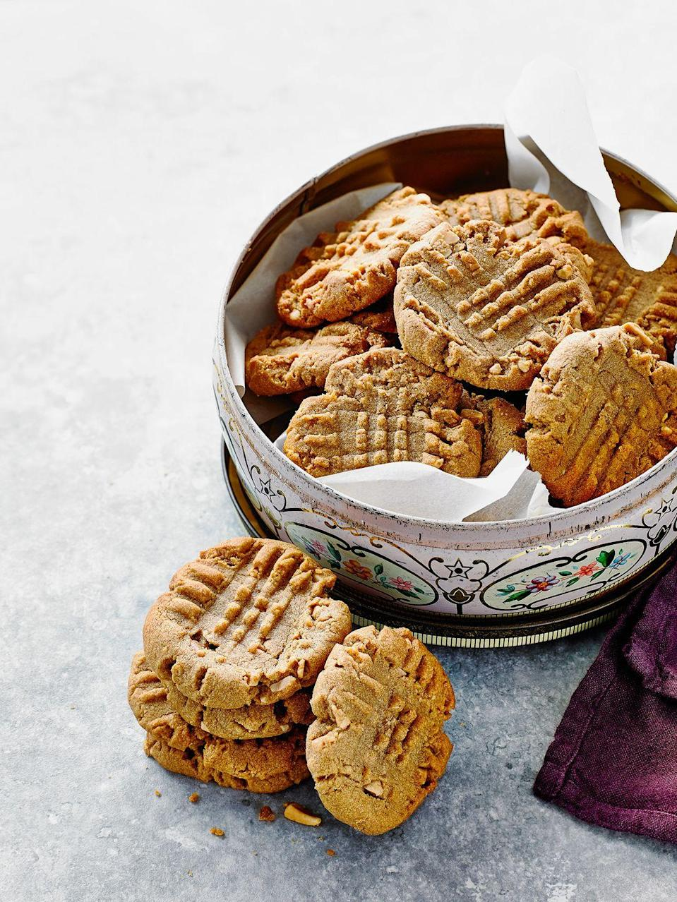 """<p>These quick peanut butter cookies are the perfect treat when you need something sweet in no time at all. They're also gluten and dairy-free!</p><p><strong>Recipe: <a href=""""https://www.goodhousekeeping.com/uk/food/recipes/a26942826/peanut-butter-cookies/"""" rel=""""nofollow noopener"""" target=""""_blank"""" data-ylk=""""slk:Peanut butter cookies"""" class=""""link rapid-noclick-resp"""">Peanut butter cookies</a></strong></p>"""