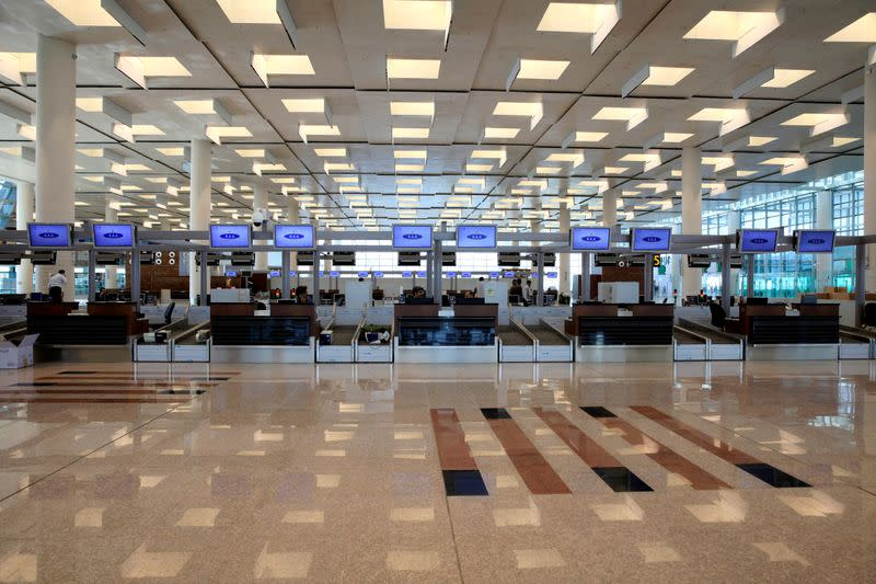 A general view of the check-in area of the newly built Islamabad International Airport Terminal