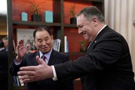 FILE PHOTO: U.S. Secretary of State Pompeo meets with senior North Korean envoy Kim Yong Chol in Washington