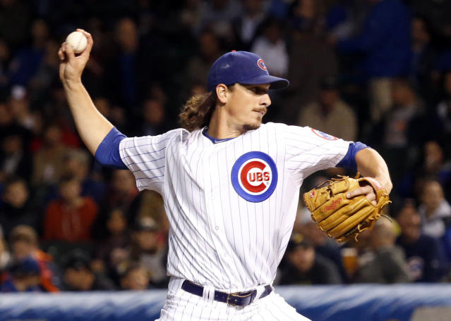 Chicago Cubs starting pitcher Jeff Samardzija delivers during the first inning of a baseball game against the Pittsburgh Pirates Monday, Sept. 23, 2013, in Chicago. (AP Photo/Charles Rex Arbogast)