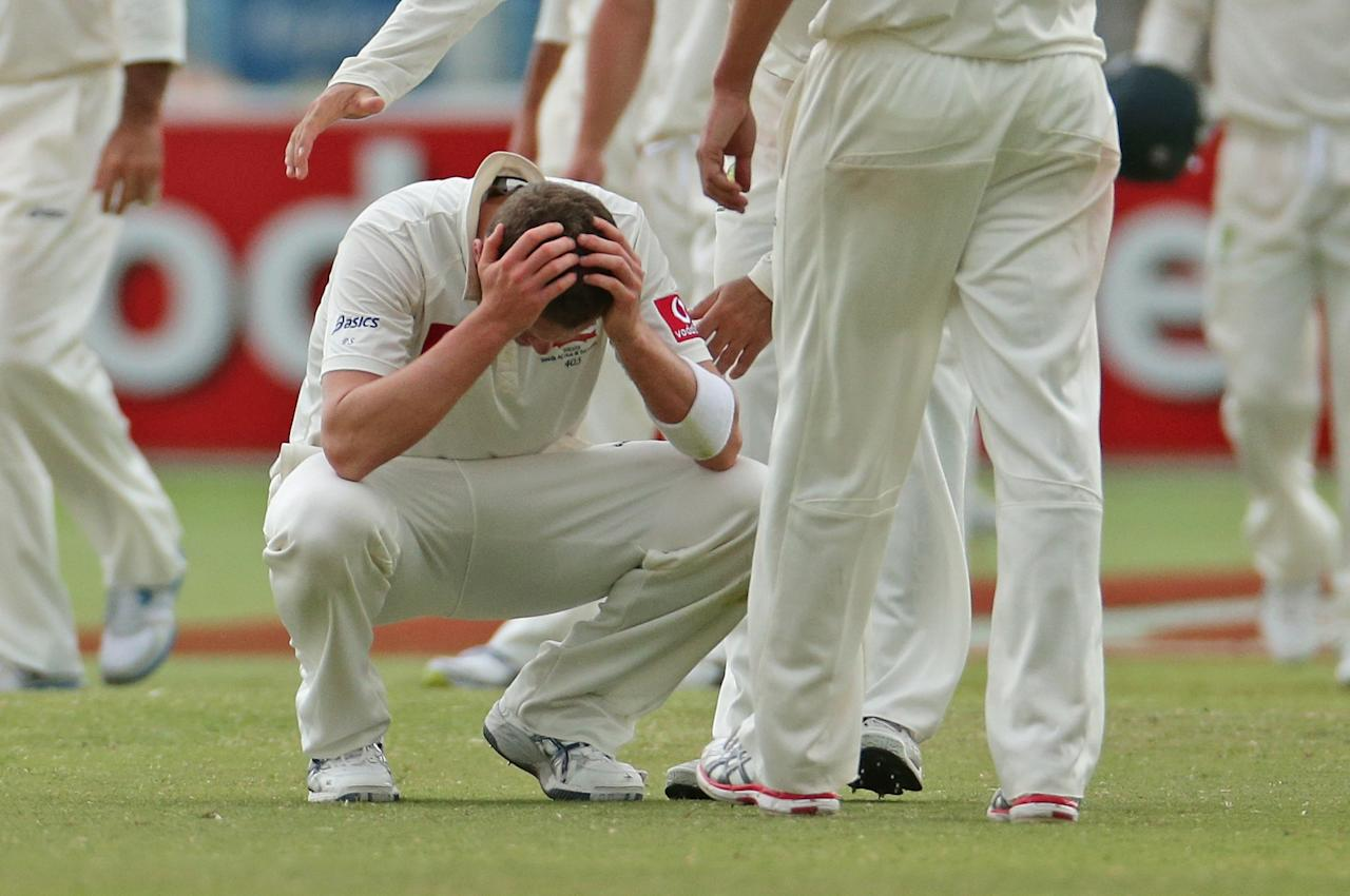 ADELAIDE, AUSTRALIA - NOVEMBER 26:  Peter Siddle of Australia reacts at the conclusion of day five of the Second Test Match between Australia and South Africa at Adelaide Oval on November 26, 2012 in Adelaide, Australia.  (Photo by Scott Barbour/Getty Images)