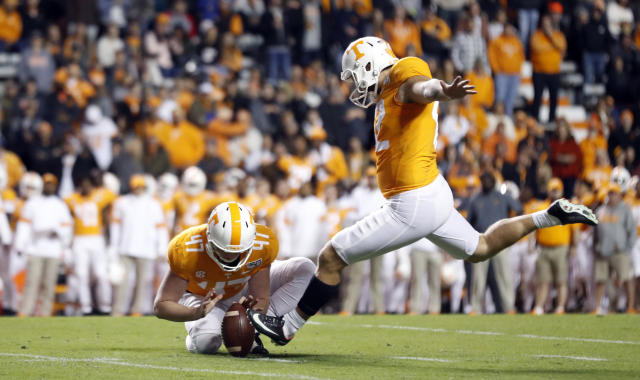Tennessee's Brent Cimaglia kicks a field goal as Joe Doyle (47) holds in the first half of an NCAA college football game against UAB, Saturday, Nov. 2, 2019, in Knoxville, Tenn. (AP Photo/Wade Payne)