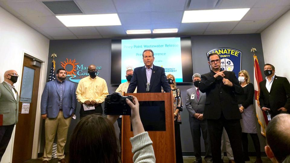 U.S. Rep. Vern Buchanan, R-Sarasota, addresses the media Monday, April 5, 2021 about the crisis at the former Piney Point phosphate plant, along with Manatee County officials. (Zachary T. Sampson/Tampa Bay Times via AP)