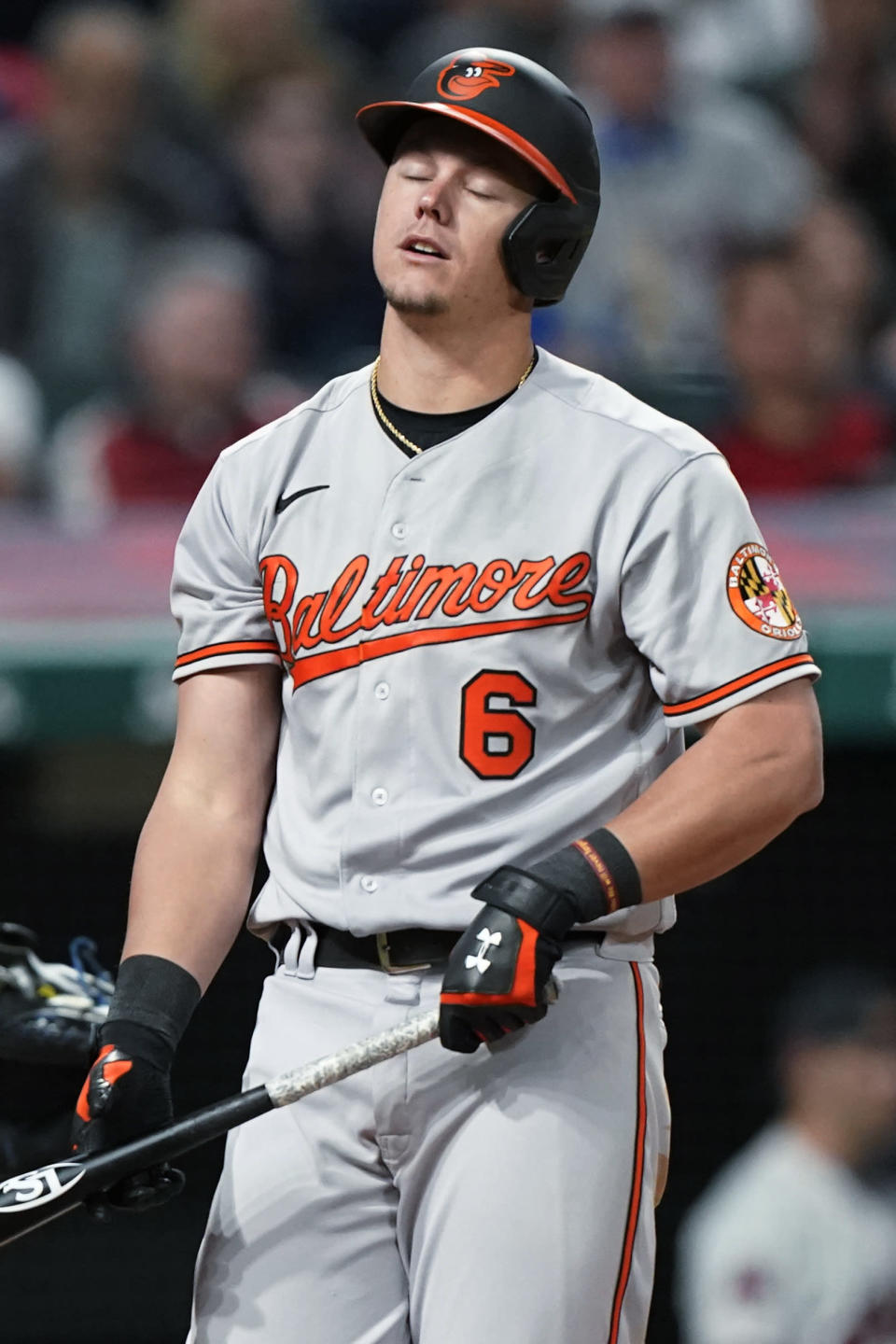Baltimore Orioles' Ryan Mountcastle reacts after striking out during the ninth inning of the team's baseball game against the Cleveland Indians, Wednesday, June 16, 2021, in Cleveland. The Indians won 8-7. (AP Photo/Tony Dejak)