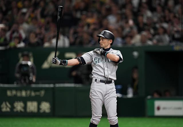 Ichiro Suzuki played nearly the entire game on Thursday, taking the final at-bat of his career in the eighth inning. (Getty Images)
