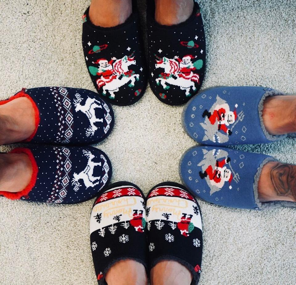"""Today's modern ugly holiday sweaters are designed to be in your face. These <a href=""""https://www.reef.com/shop/mens-shoes/reef-x-tipsy-elves-slippers/CI2719-070-M.html"""" target=""""_blank"""" rel=""""noopener noreferrer"""">ugly Christmas slippers</a> take a more subtle approach. Hope you like people staring at your feet!"""