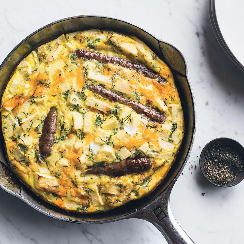 """<p>Instead of serving the breakfast sausages on the side of her eggs, Kay Chun bakes them right into her delicious egg frittata.</p><p><a href=""""https://www.foodandwine.com/recipes/sausage-and-apple-frittata-dill"""">GO TO RECIPE</a></p>"""