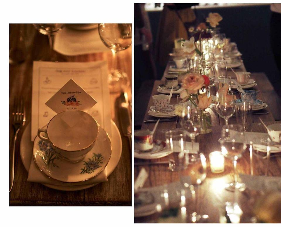 "<p>Choose vintage objet as favors, tabletop, and as a way to guide your guests to their seats. Here, a vintage cup and saucer served as the way to guide the couple's loved ones to their assigned seats at an English-inspired, <a href=""https://www.harpersbazaar.com/wedding/photos/a26372632/megan-reynolds-henry-connell-wedding-brooklyn-new-york/"" rel=""nofollow noopener"" target=""_blank"" data-ylk=""slk:intimate dinner party in New York City"" class=""link rapid-noclick-resp"">intimate dinner party in New York City</a>.</p>"