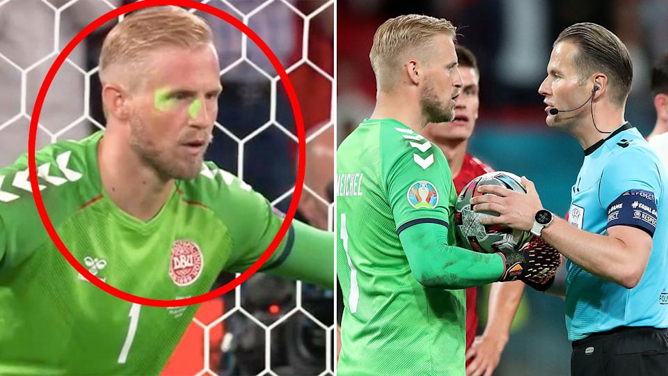 Seen here, Denmark keeper Kasper Schmeichel has lasers shined on his face during the match against England.