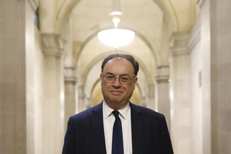 Bank of England governor Andrew Bailey. Photo: Tolga Akmen/Pool via AP