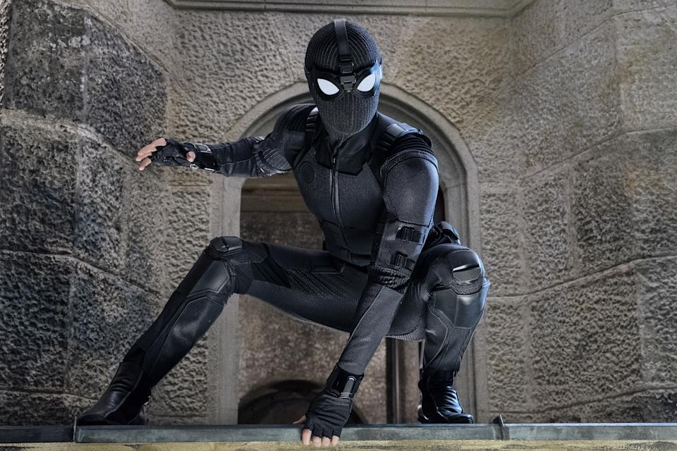 Peter Parker strikes a pose in his new 'Far From Home' stealth suit (Photo: Jay Maidment / © Columbia Pictures / © Marvel / courtesy Everett Collection)