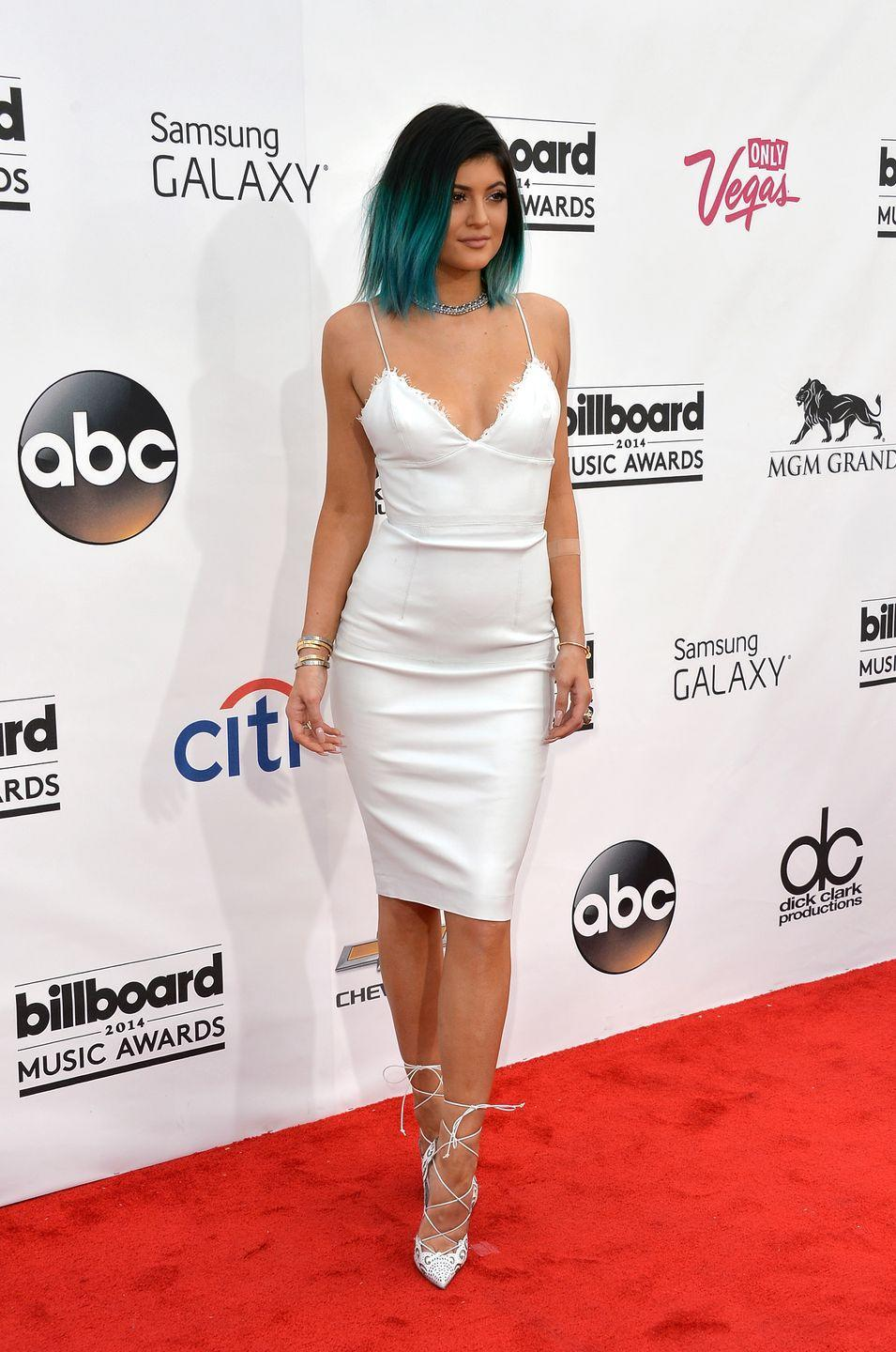 <p>Lace was everywhere, from dresses and tops to jackets and, yes, shoes. Here, Kylie Jenner tried the style on for size at the Billboard Music Awards in Las Vegas. </p>