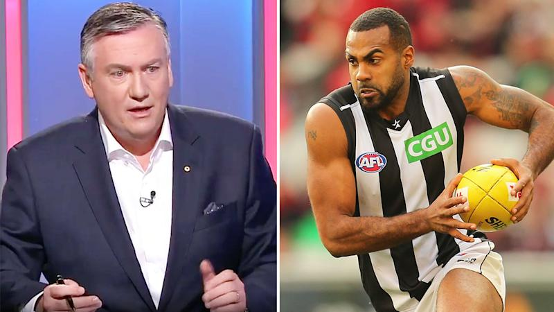 Seen here, Eddie McGuire discussing Heritier Lumumba's racism claims on Channel Nine.