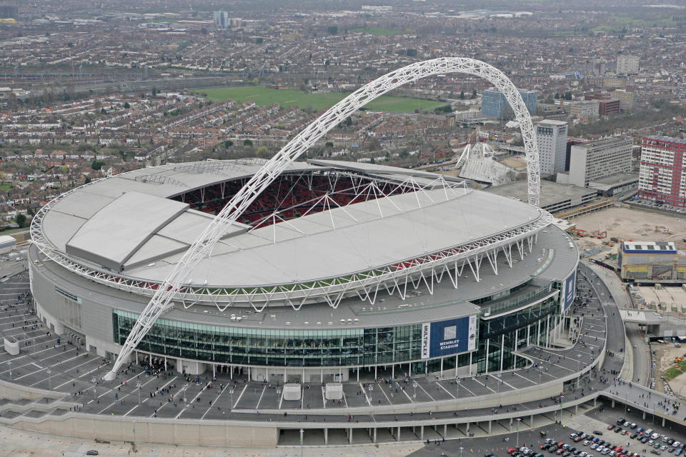 An aerial view of Wembley Stadium is seen on its opening day in London, March 17, 2007. REUTERS/Action Images/Pool