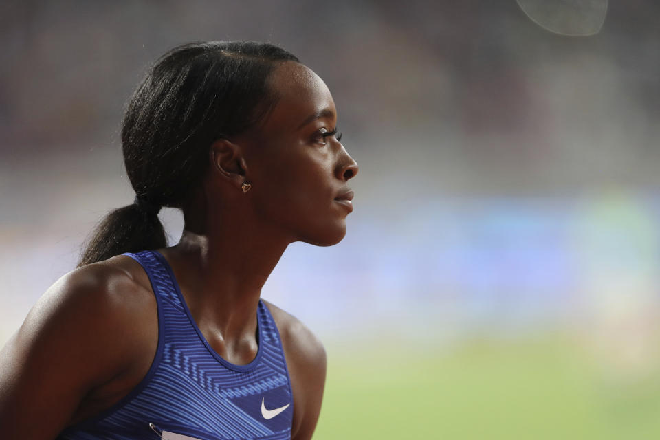 United States' Dalilah Muhammad competes in the Women's 400 meters hurdles during the Diamond League in Doha, Qatar, Friday, May 3, 2019. (AP Photo/Kamran Jebreili)