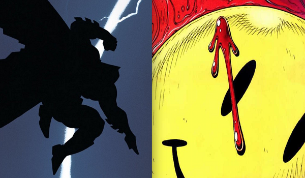First issue covers for both The Dark Knight Returns and Watchmen, two of the most important comics ever made.