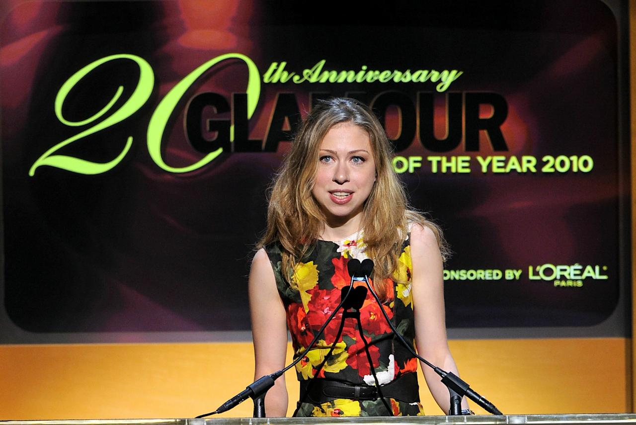 NEW YORK - NOVEMBER 08:  Chelsea Clinton speaks onstage during the Glamour Magazine 2010 Women of the Year Gala at Carnegie Hall on November 8, 2010 in New York City.  (Photo by Larry Busacca/Getty Images for Glamour Magazine)