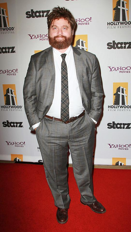 "<a href=""http://movies.yahoo.com/movie/contributor/1805534781"">Zach Galifianakis</a> attends the 14th Annual Hollywood Awards Gala at the Beverly Hilton Hotel on October 25, 2010."