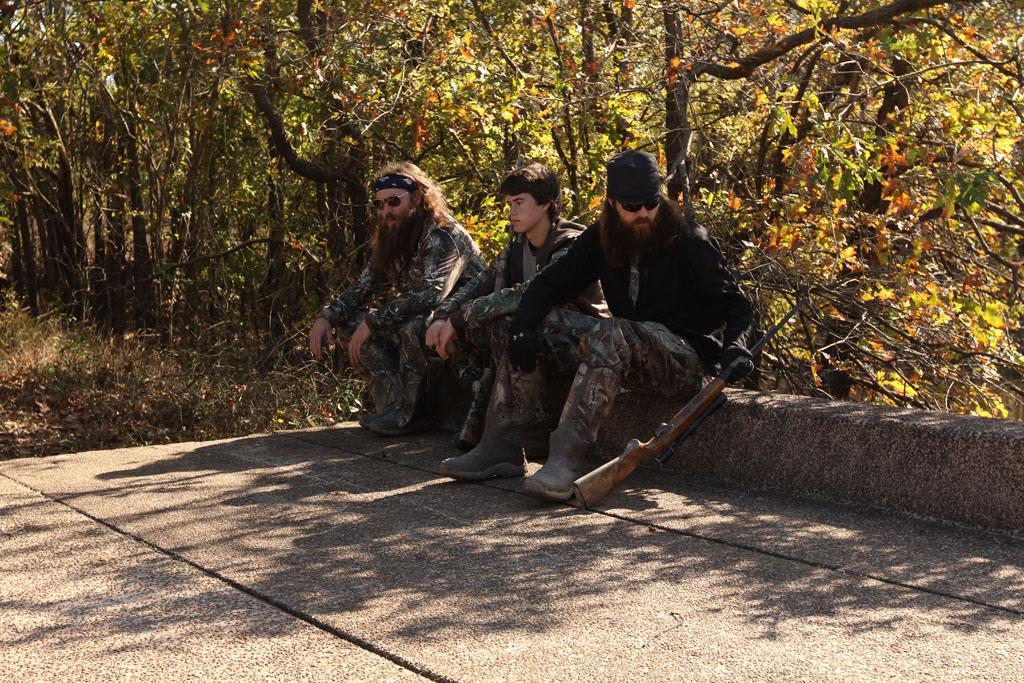 "Willie Robertson, John Luke Robertson and Jase Roberston in the ""Duck Dynasty"" Season 3 episode, ""Shot Through the Heart."""