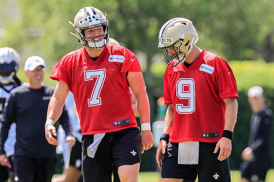 The New Orleans Saints often will put quarterbacks Drew Brees (9) and Taysom Hill (7) on the field regularly together. (Getty Images)