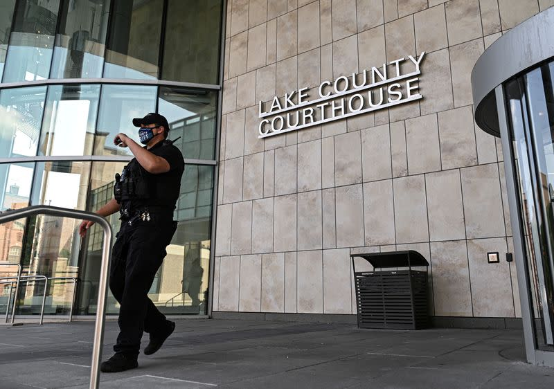 FILE PHOTO: A view outside the Lake County Courthouse is seen following the Kenosha, Wisconsin shooting of protesters, in Waukegan, Illinois