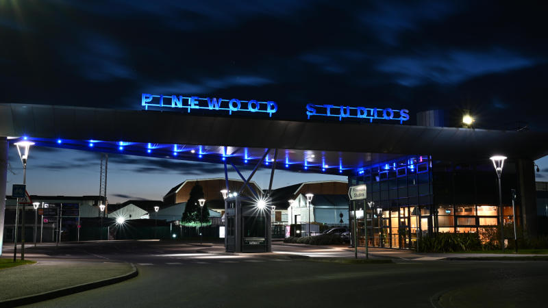 Pinewood Studios has turned its lights blue in support of the NHS. (Credit: Pinewood Group)