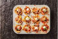 """<p>Wonton wrappers stuffed with ground beef and cheese and then baked until crispy, bubbly perfection might be better than regular tacos.</p><p><em><a href=""""https://www.goodhousekeeping.com/food-recipes/a35191674/taco-cups-recipe/"""" rel=""""nofollow noopener"""" target=""""_blank"""" data-ylk=""""slk:Get the recipe for Taco Cups »"""" class=""""link rapid-noclick-resp"""">Get the recipe for Taco Cups »</a></em></p>"""