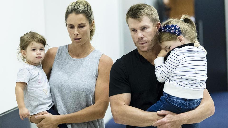 David Warner, pictured here with wife Candice and their young children.