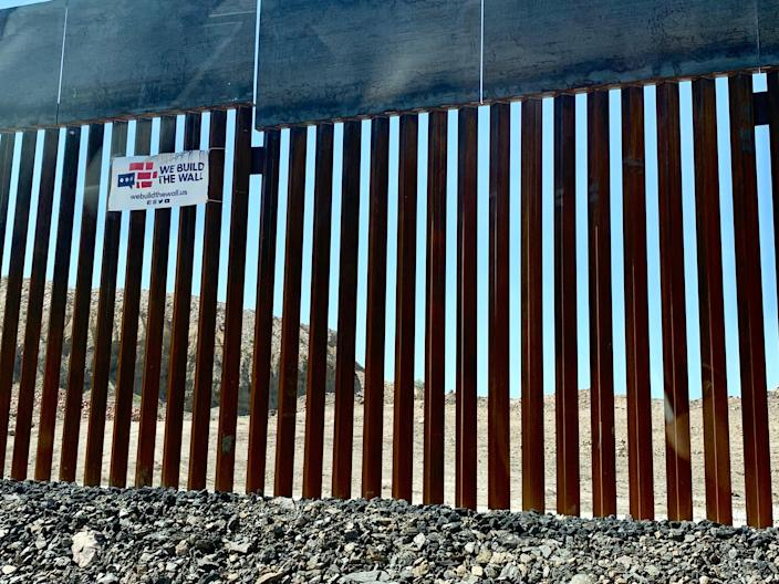 The first-ever privately constructed border wall, as seen from the Mexican side of the border in Ciudad Juárez