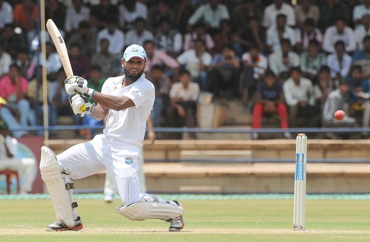 Assad Fudadin of West Indies A bats against India A on Day 2 of their first Test match at the Gangothri Glades Cricket Ground, Mysore, September 26 2013. (IANS)