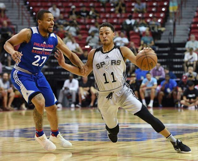 "<a class=""link rapid-noclick-resp"" href=""/nba/players/5726/"" data-ylk=""slk:Bryn Forbes"">Bryn Forbes</a> is leading the Las Vegas Summer League in scoring after doing the same in Utah last week. (Getty)"