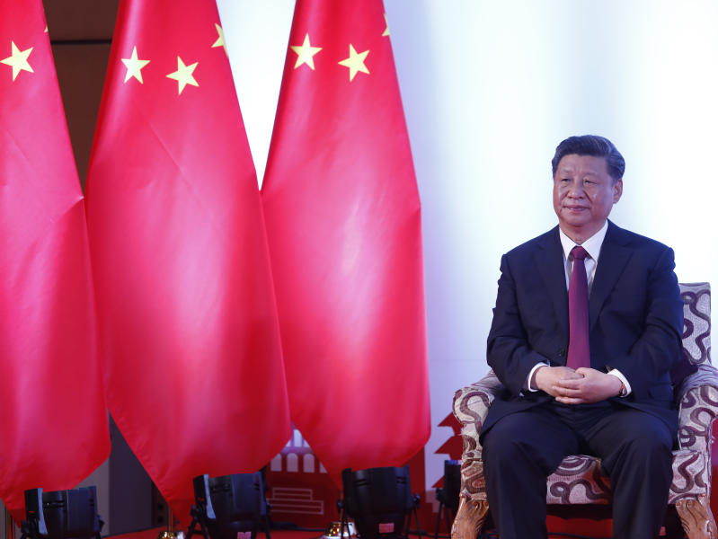Chinese President Xi Jinping, waits for a bilateral meeting in Kathmandu, Nepal, Sunday, Oct. 13, 2019. Xi on Saturday became the first Chinese president in more than two decades to visit Nepal, where he's expected to sign agreements on some infrastructure projects. (Bikash Dware/The Rising Nepal via AP)