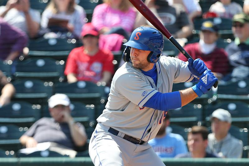 ALLENTOWN, PA - MAY 02: Tim Tebow #15 of the Syracuse Mets in action during a AAA minor league baseball game against the Lehigh Valley Iron Pigs on May 1, 2019 at Coca Cola Park in Allentown, Pennsylvania. (Photo by Rich Schultz/Getty Images)