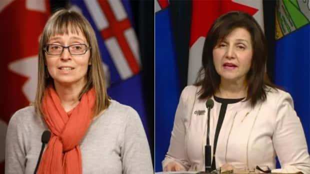Alberta's chief medical officer of health Dr. Deena Hinshaw and Alberta Education Minister Adriana LaGrange. (Jason Franson/The Canadian Press and Scott Neufeld/CBC - image credit)