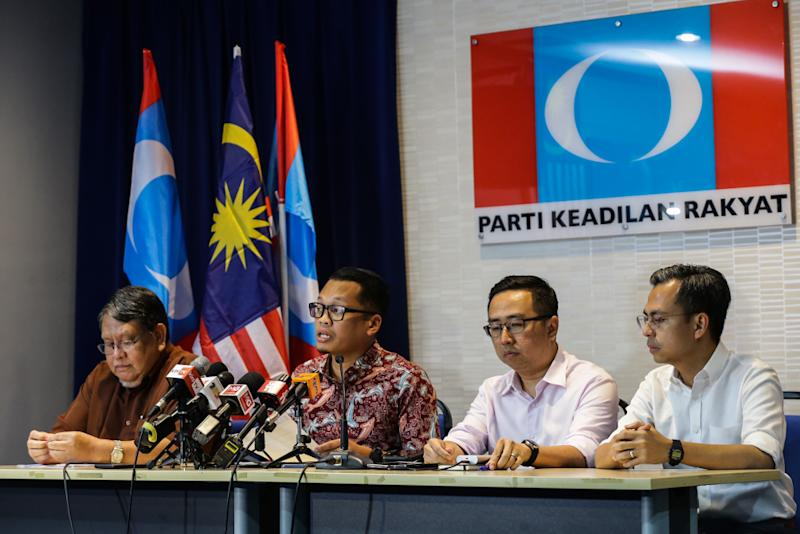 Nik Nazmi Nik Ahmad speaks during a press conference at PKR's headquarters in Petaling Jaya August 21, 2019. — Picture by Ahmad Zamzahuri