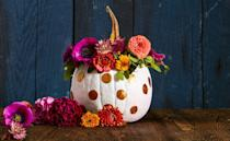 "<p>Give your gourd its very own flower crown. Shape sturdy floral wire into a wreath. Trim flowers, leaving two to three inches of stem. Attach stems and leafy greens with additional wire, twisting until secure. Crown your pumpkin, then hang with a stylish wall hook once the season is over. The blooms will still be lovely when dried!</p><p><a class=""link rapid-noclick-resp"" href=""https://www.amazon.com/Darice-Paddle-Wire-22-Gauge-Green/dp/B001K7QAYM/?tag=syn-yahoo-20&ascsubtag=%5Bartid%7C10055.g.1714%5Bsrc%7Cyahoo-us"" rel=""nofollow noopener"" target=""_blank"" data-ylk=""slk:SHOP FLORAL WIRE"">SHOP FLORAL WIRE</a></p>"