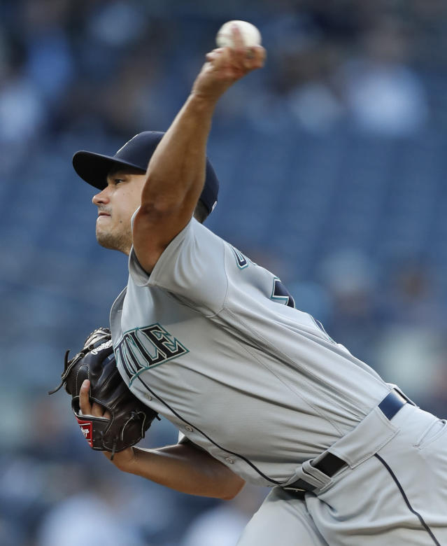 Seattle Mariners starting pitcher Marco Gonzales delivers during the second inning of the team's baseball game against the New York Yankees, Tuesday, May 7, 2019, in New York. (AP Photo/Kathy Willens)