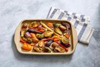 """<p>A simple unglazed stoneware pan that's extremely versatile. Microwave-, freezer-, oven-, preheat-, dishwasher-, and broiler-safe to 550°F it can be used for everything from baking <a href=""""https://www.marthastewart.com/1165236/chewy-brownies"""" rel=""""nofollow noopener"""" target=""""_blank"""" data-ylk=""""slk:brownies"""" class=""""link rapid-noclick-resp"""">brownies</a> to roasting vegetables to heating up leftovers.</p> <p><strong><em>Shop Now:</em></strong><em> Pampered Chef Medium Stone Bar Pan, $35, </em><a href=""""https://www.pamperedchef.com/pws/coreycoleman/shop/New/Medium+Stone+Bar+Pan/100255"""" rel=""""nofollow noopener"""" target=""""_blank"""" data-ylk=""""slk:pamperedchef.com"""" class=""""link rapid-noclick-resp""""><em>pamperedchef.com</em></a>.</p>"""