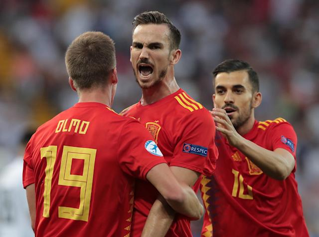 UDINE, ITALY - JUNE 30: Fabian Ruiz (C) of Spain celebrates with his team-mate Dani Olmo and Dani Ceballos after scoring the opening goal during the 2019 UEFA U-21 Final between Spain and Germany at Stadio Friuli on June 30, 2019 in Udine, Italy. (Photo by Emilio Andreoli - UEFA/UEFA via Getty Images)