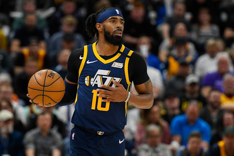 SALT LAKE CITY, UT - FEBRUARY 24: Mike Conley #10 of the Utah Jazz in action during a game against the Phoenix Suns at Vivint Smart Home Arena on February 24, 2020 in Salt Lake City, Utah. NOTE TO USER: User expressly acknowledges and agrees that, by downloading and/or using this photograph, user is consenting to the terms and conditions of the Getty Images License Agreement. (Photo by Alex Goodlett/Getty Images)