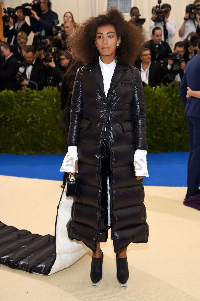 <p>Solange transcends fashion (and our imaginations) in a 'sleeping bag' dress? <i>(Photo via Getty Images)</i> </p>