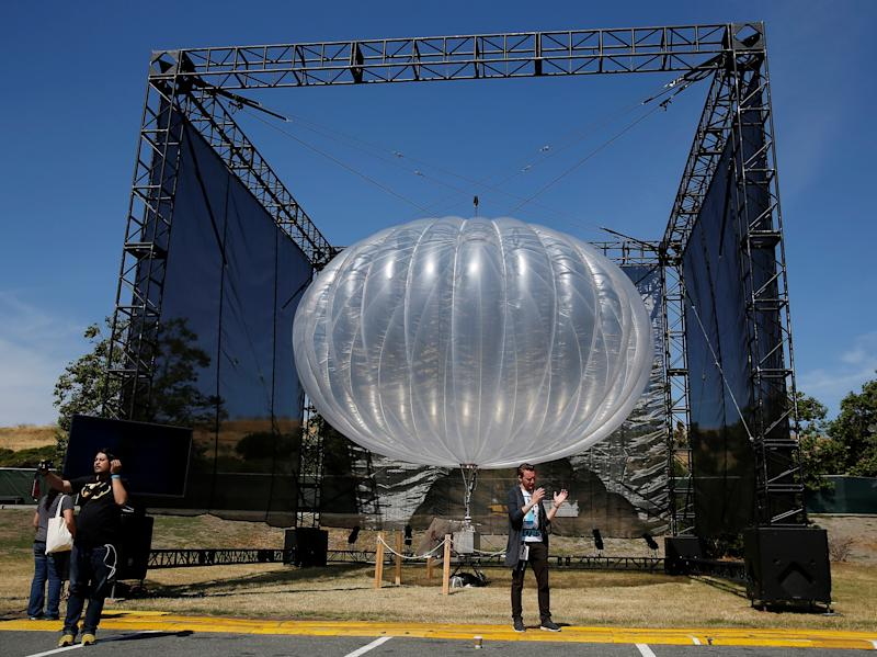 A Google Project Loon internet balloon is seen at the Google I/O 2016 developers conference in Mountain View: REUTERS