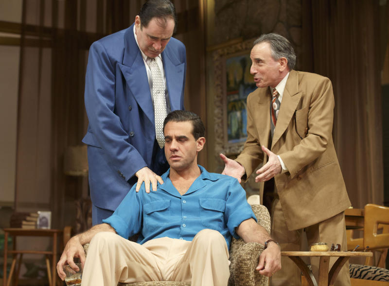 """This publicity image released by Polk PR shows, from left, Richard Kind, Bobby Cannavale (seated) and Chip Zien, in a scene from Clifford Odets' drama """"The Big Knife"""", currently performing on Broadway at the Roundabout Theatre Company's American Airlines Theatre in New York. (AP Photo/Polk PR, Joan Marcus)"""