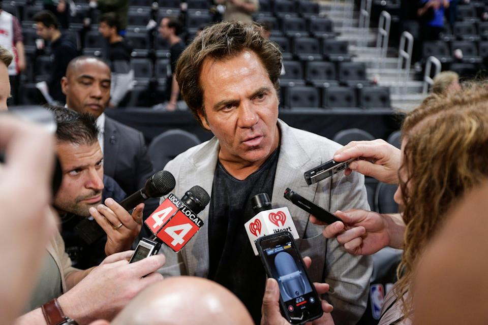 Pistons owner Tom Gores addresses the media after the season-ending loss to the Bucks, 127-104, in Game 4 of the playoff series at Little Caesars Arena in Detroit, Monday, April 22, 2019.
